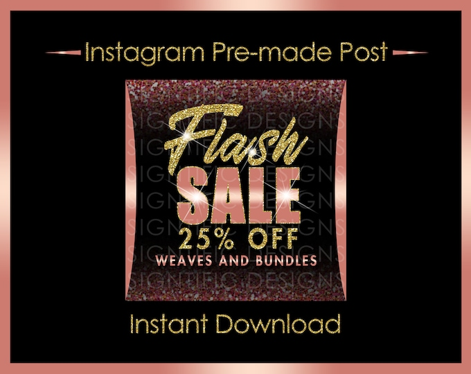 Instant Download, Flash Sale, Hair Business Flyer, Bundle Sale Flyer, Instagram Post, Glitter Gold Rose Gold, Digital Flyer, Instagram Flyer