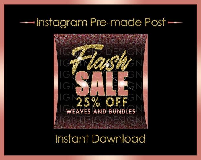 Instant Download, Flash Sale, Hair Business Flyer, Bundle Sale Flyer, Instagram Post, Glitter Gold Rose Gold, Digital Flyer, Instagram Flyer