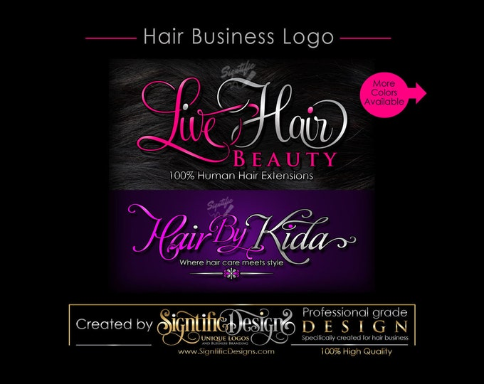 Hair Business Logo, Hair Extensions Logo, Hair Salon Logo, Logo for Hair, Hair Bundle Logo, Logo Custom, Logo for Hair Tags, Logo, Logos