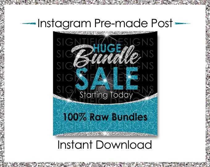 Instant Download, Huge Bundle Sale, Hair Extension Flyer, Instagram Post, Digital Flyer, Silver and Teal, Instagram Flyer, IG Post Flyer