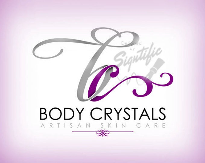 Beauty salon logo, FREE business card design, purple and silver logo, unique initials logo, professional business logo, OOAK salon logo