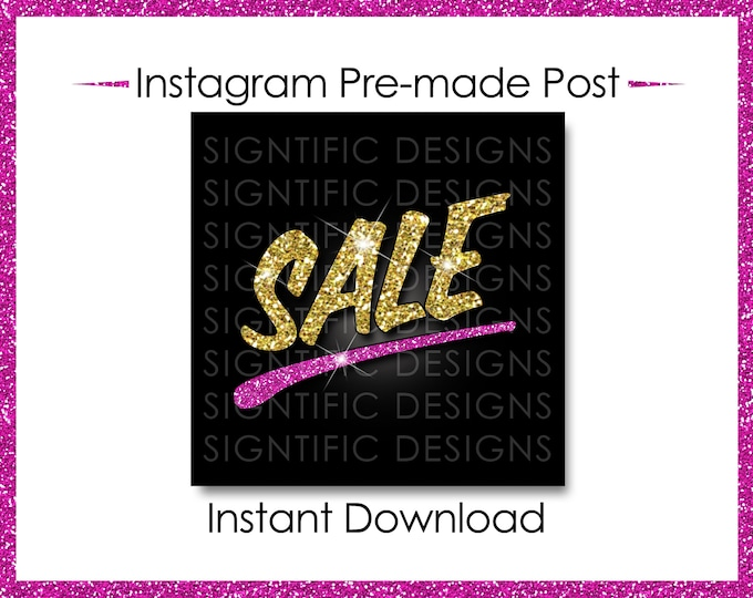 Instant Download, Hair Business Sale, Hair Extensions Flyer, Instagram Post Flyer, Digital Online Flyer, Instagram Flyer, Glitter Gold Pink