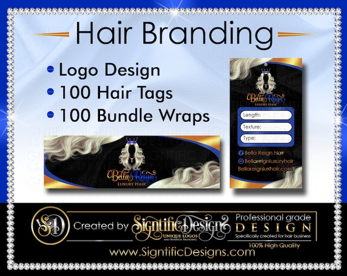 Hair Branding, Hair Extensions Logo, 100 Hair Tags, 100 Bundle Wraps, Hair Packaging, Hair Labels, Hair Brand, Bundle Tags, Bundle Label
