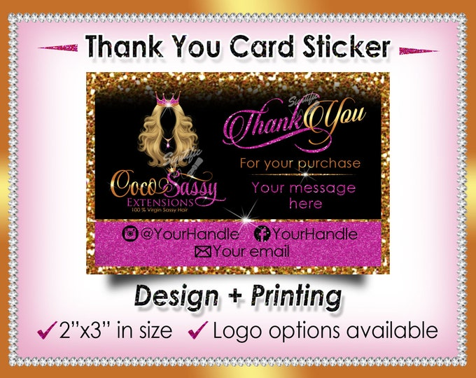 Thank You Sticker, 2x3 Thank You Card Sticker, Hair Extensions Packaging Sticker, Thank you Label, Hair Business Label, Loyalty Card Sticker