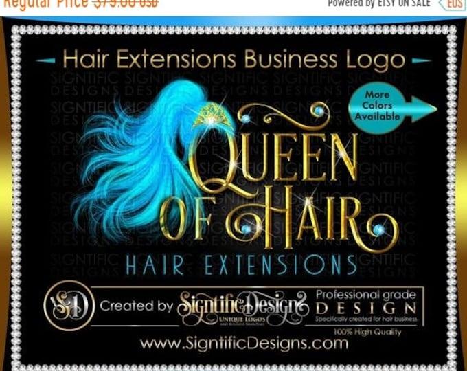 Hair Extension Logo, Hair Business Logo, Wig Tiara Logo, Hair Bundle Logo, Bling Diamond Logo, Hair Packaging Logo, Ponytail Extension Logo