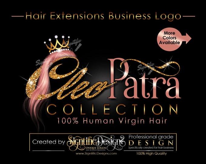 Hair Bundles Logo, Hair Extensions Logo, Hair Business Logo, Bundle Branding, Glitter Gold Logo, Crown Bundle Logo, Rose Gold Logo Design