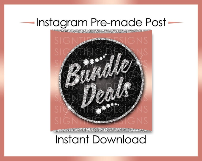 Instant Download, Bundle Deals, Hair Extensions Flyer, Instagram Caption, Premade Online Flyer, Instagram Flyer Post,  Silver and Rose Gold