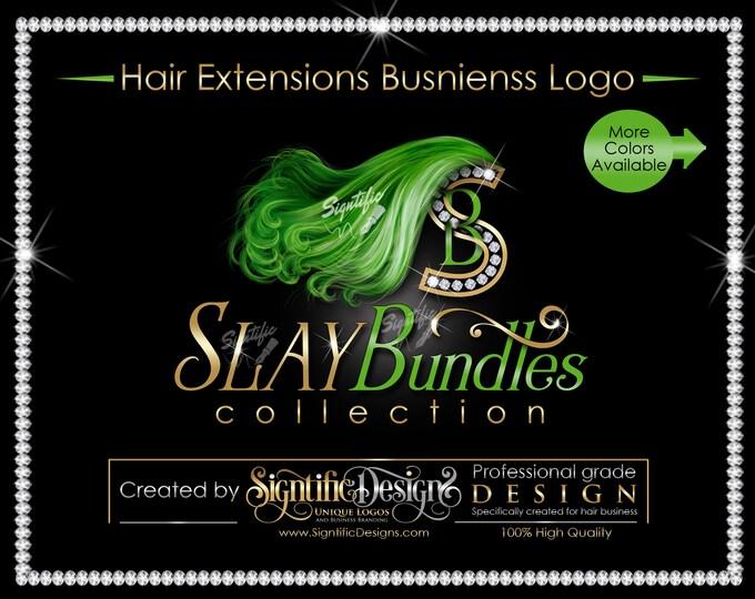 Hair Extensions Logo, Hair Bundle Logo, Hair Business Logo, Bling Logo, Lime Green Hair Logo, Hair Diamond Logo, Virgin Hair Logo, Hair Logo