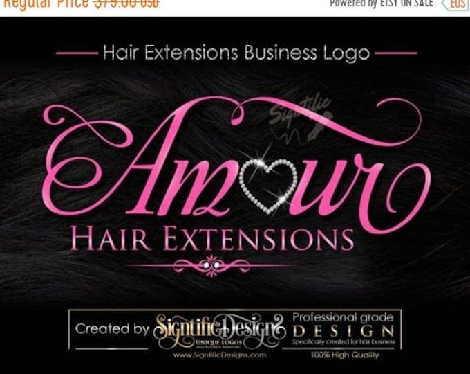 Hair Extensions Business Logo, Hair Tag Logo, Hang Tag Logo, Hair Logo, Bling Logo on Hair Texture, Pink Lettering Logo Design for Hair