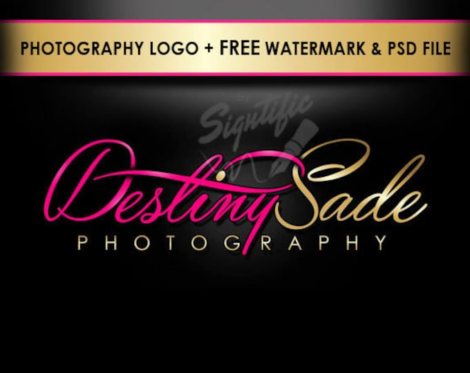 Custom photography logo, free watermark and PSD source file pink and gold photographer logo design, photo watermark design, photograph brand