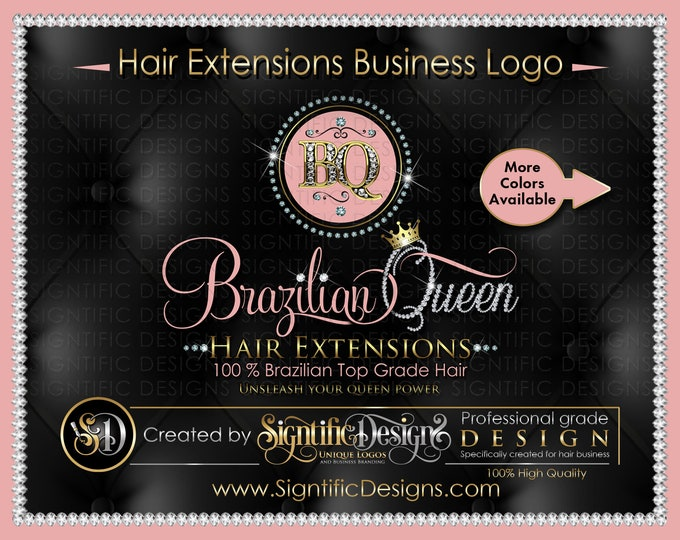 Custom Hair Extensions Logo, Diamond Bling Initials Logo, Diamond Name Logo, Bling Scissors Logo, Hair Logo, Hair Collection Logo, Name Logo
