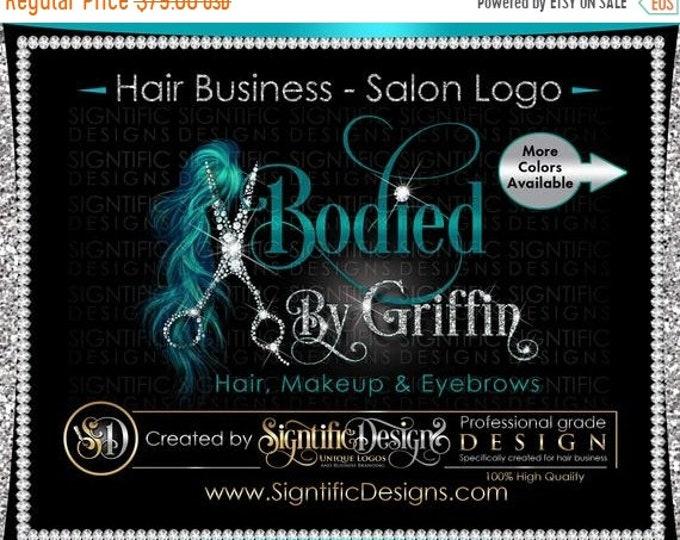 Hair Salon Logo, Hair Extensions Logo, Diamond Scissors Logo, Bling Logo, Glitter Logo, Hair Branding, Bundle Logo, Shimmer Logo, Brand Logo