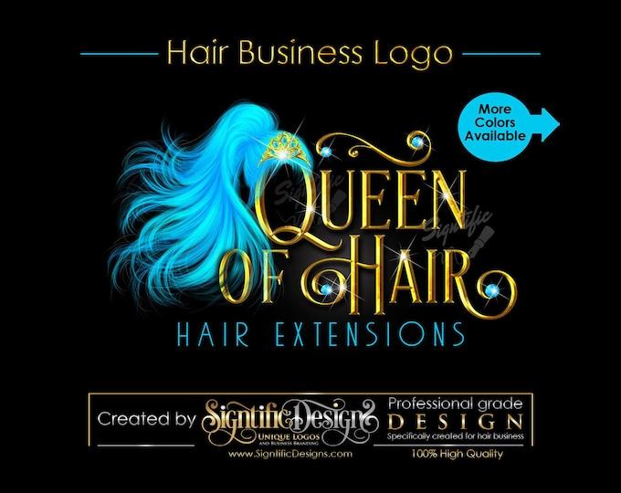 Hair Extensions Logo, Flowing Ponytail Logo, Teal Hair Logo, Hair Bundle Logo, Metallic Gold Logo, Hair Packaging Logo, Bling Logo Branding