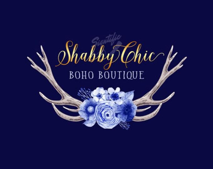 Custom Bohemian Logo, Boho Logo, Bohemian Logo, Floral Antlers Logo, Boutique Logo Design, Small Business Logo, Custom Logo Design, Branding