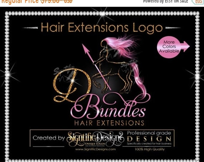 Hair Extensions Logo, Hair Bundle Logo, Sagittarius Logo, Hair Logo, Glitter Hair Logo, Hair Tags Logo, Wig Business Logo, Packaging Logo
