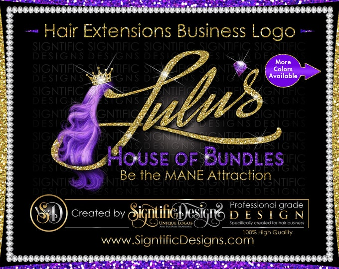 Hair Extensions Logo, Hair Logo, Hair Business Logo, Virgin Hair Logo, Packaging Logo, Logo Design, Bundle Logo, Hair Tag Logo, Hair Brand