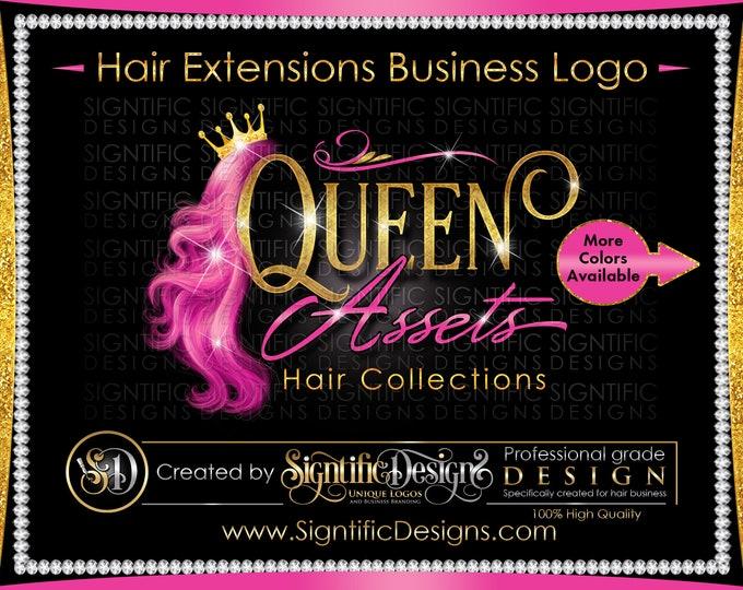 Hair Bundle Logo, Hair Business Logo, Hair Extensions Logo, Pink Wig Logo, Glitter Hair Logo, Virgin Hair Logo, Hair Logo Brand, Bling Logo