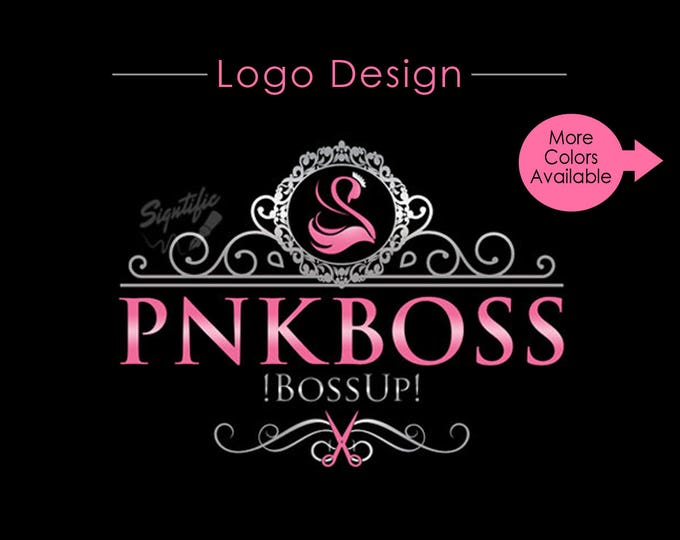 Hair Salon Logo with Frame, Custom Scissors Logo, Business Logo Design, Logo Design, Business Logo, Colour Logo, silver and Pink Swan Logo