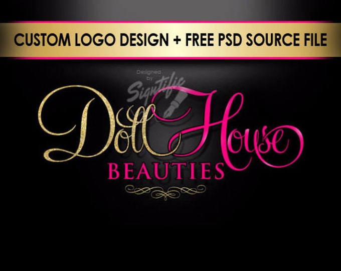 Beauty Salon Logo, Gold Glitter and Pink Logo, Salon Shop Logo, Salon Sign Logo Design, Shimmer Gold and Hot Pink Logo, Cursive Lettering