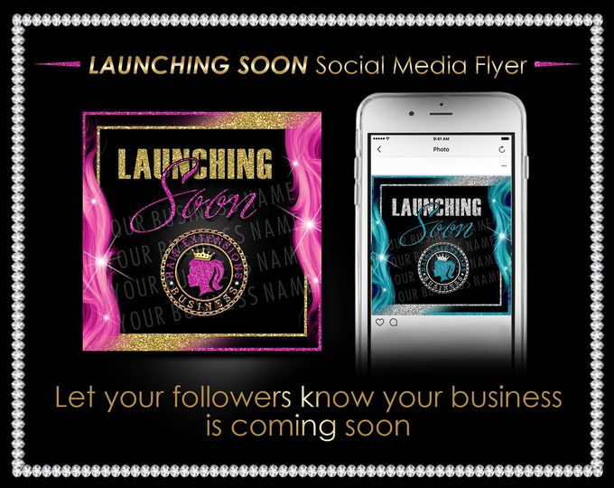 Launching Soon Flyer, Social Media Post, Coming Soon Poster, Hair Business Flyer, Instagram Post, Hair Business Launching, Instagram Flyer