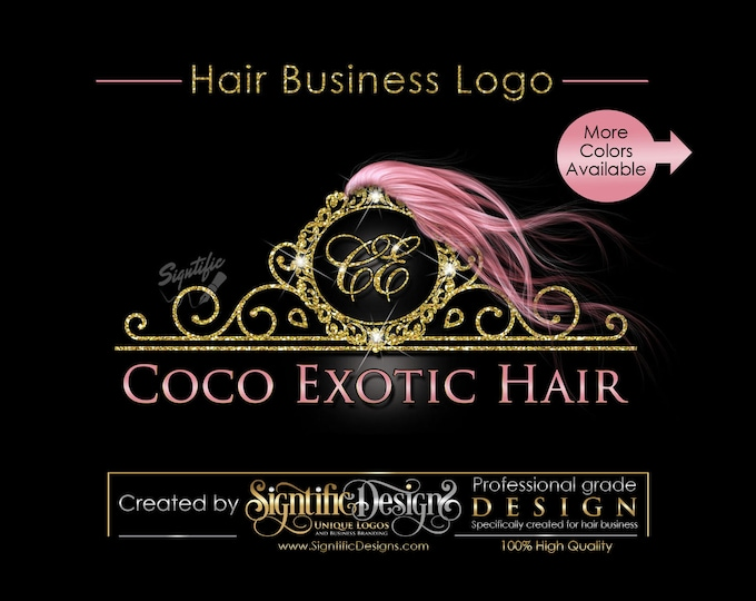 Hair Extensions Business Logo, Rose Gold Hair Logo, Glitter Bling Logo, Custom Strands Logo, Hair Bundle Logo, Hair Packaging Logo, Branding