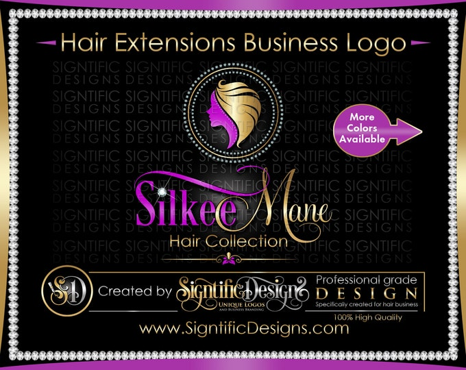 Hair Extensions Logo, Hair Business Logo, Bling Logo Design, Hair Business Brand, Diamond Frame Logo, Hair Bundle Branding, Hair Tag Logo