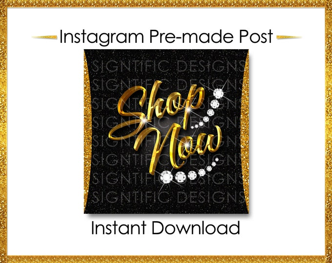 Instant Download, Shop Now, Hair Flyer, Hair Extensions Post, Instagram Post, Instagram Caption, Digital Online Flyer, Gold, Glitter Flyer