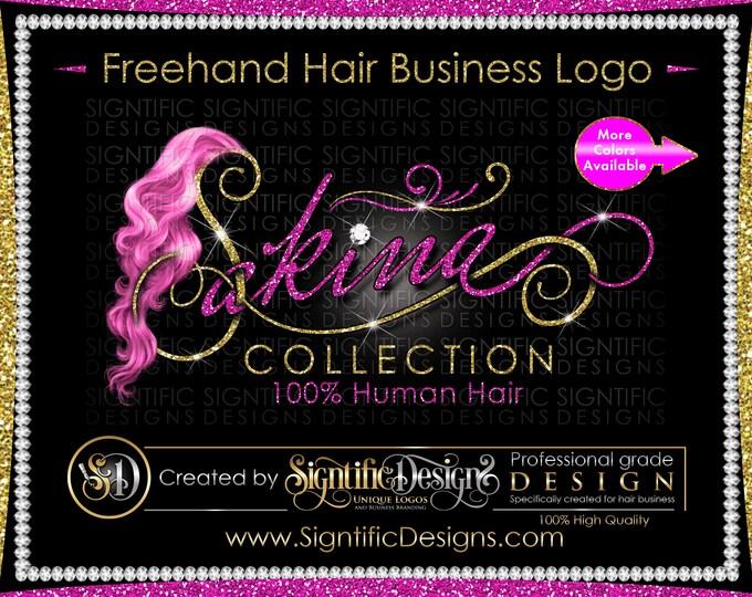 Freehand Hair Logo, Freestyle Logo, Hair extensions Logo, Bling Glitter Logo, Curly Hair Logo, Hair Curls Logo, Weaves Logo, Hair Branding