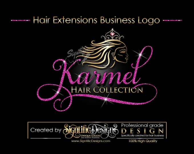 Hair Extensions Logo, Hair Logo Design, Hair Collection Logo, Gold and Pink Glitter Logo with Tiara Crown, Virgin Hair Glitter Logo Blings