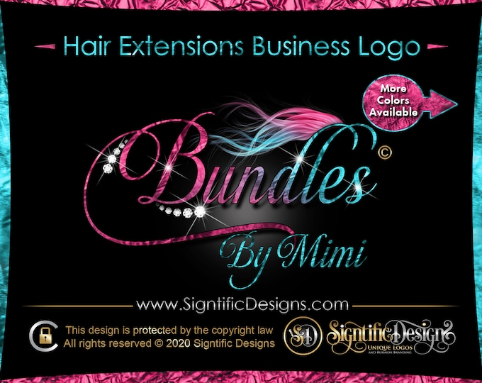 Hair Extension Logo, Ombre Hair Logo, Hair Company Logo, Bling Diamond Logo, Hair Bundle Logo, Bling Wig Logo, Hair Logo, Flowing Hair Logo