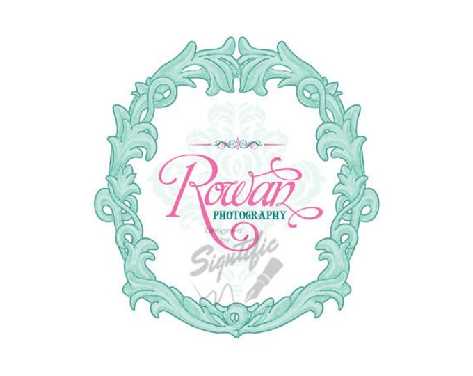 Photography custom logo, Custom logo design, free watermark, wreath logo, mint green and pink, calligraphy logo, photography logo design