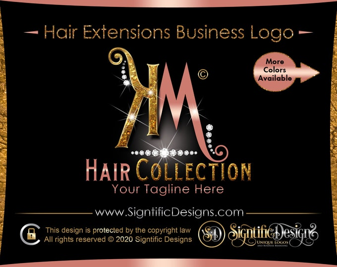 Glitter Initials Logo, Diamond Hair Logo, Hair Extensions Logo, Bling Diamond Logo, Hair Business Logo, Wig Logo, Logo Hair, Bundle Branding
