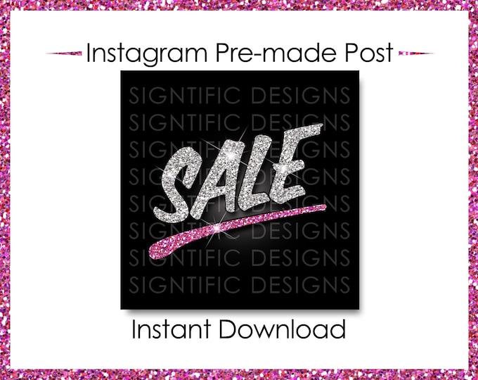 Instant Download, Hair Business Sale, Instagram Post, Instagram Caption, Premade Online Flyer, Glitter Instagram Flyer, Silver Pink flyer