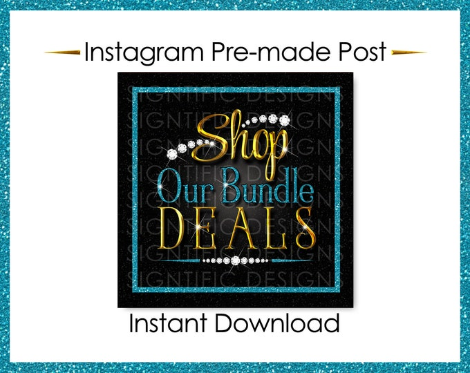 Instant Download, Shop Our Bundle Deals, Glitter Bundle Flyer, Hair Extensions Post, Instagram Post, Gold Glitter Teal, Digital Post Flyer