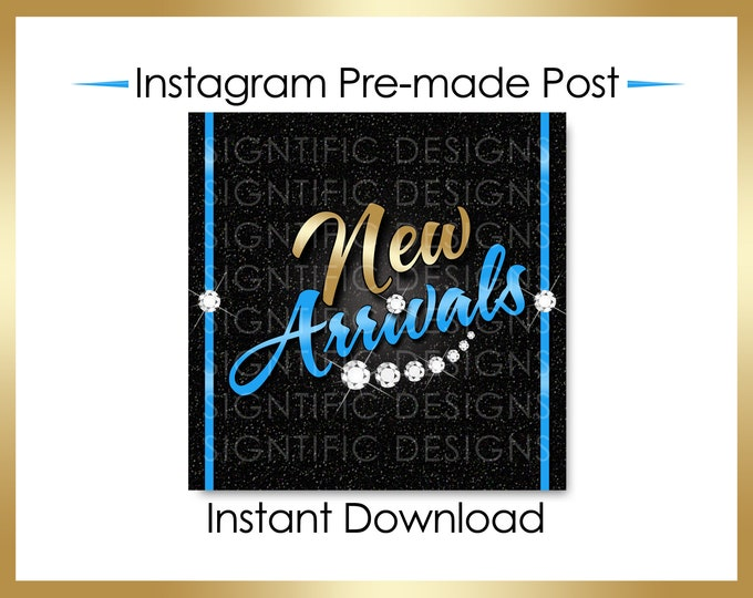Instant Download, Hair Extensions Post, New Arrivals, Instagram Post, Hair Bundle Post, Gold and Blue Flyer, Digital Flyer, Instagram Flyer