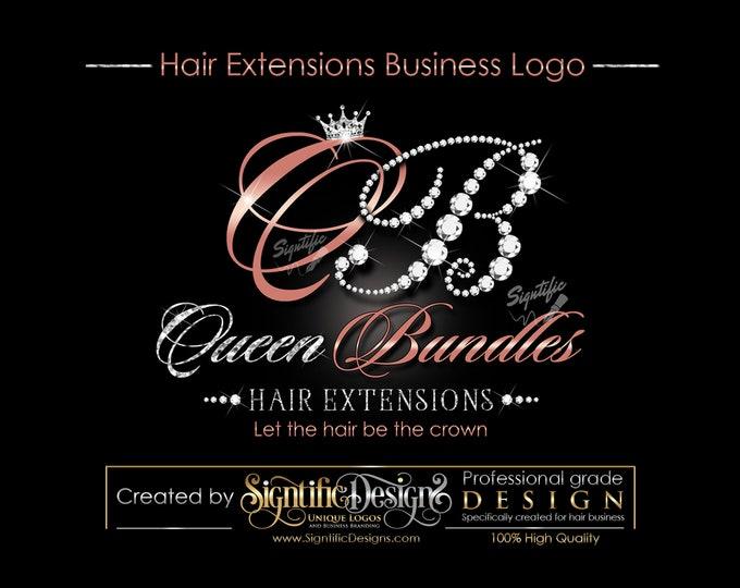 Hair Extensions Logo, Diamond Logo, Hair Business Logo, Hair Glitter Logo, Hair Packaging Logo, Virgin Hair Logo, Hair Brand, Bling Logo