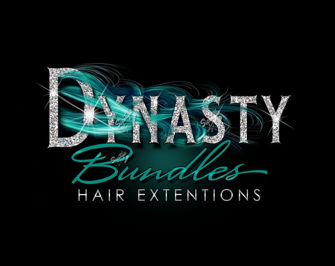 Hair Extensions Logo, Hair Business Logo, Bundle Logo, Hair Wrap Logo, Glitter Logo, Wig Logo Design, Teal Hair Logo, Shimmer Bling Logo