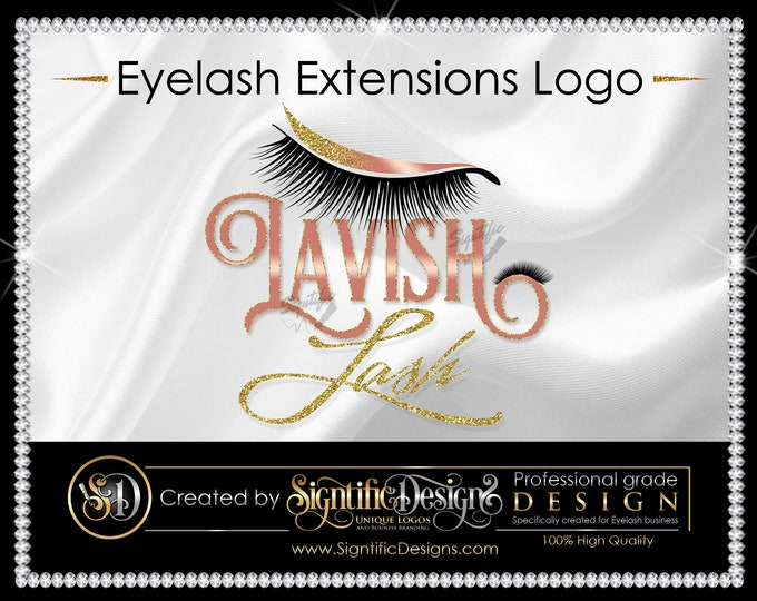 Eyelash Logo, Lash Business Logo, Eyelash Business Logo, Glitter logo, Shimmer Logo, Eyelash Branding, Bling Logo, Eyelash Extension Logo