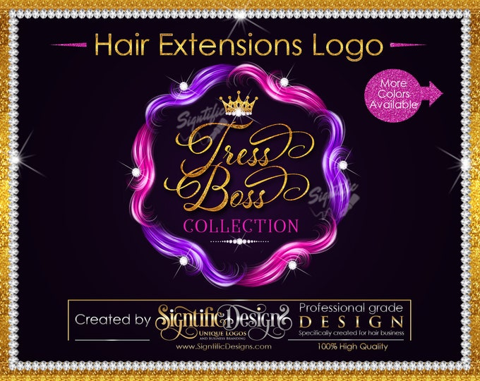 Hair Extensions Logo, Hair Bundle Logo, Hair Branding Design, Diamond Bling Logo, Packaging Logo, Multi Color Hair Logo, Glitter Hair Logo
