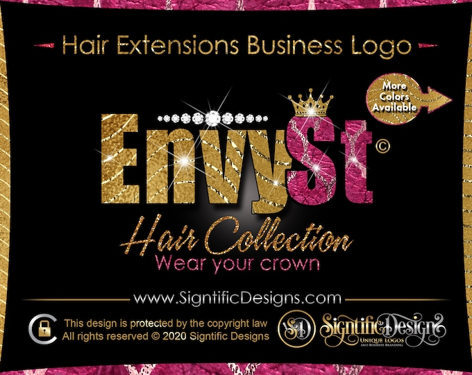 Hair Extension Logo, Diamond Logo, Glitter Pattern Logo, Hair Company Logo, Crown Logo, Hair Brand, Hair Business Logo, Bling Logo, Wig Logo