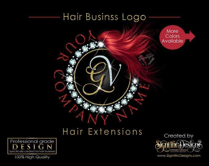 Hair Extensions Logo, Diamond Bling Logo, Glitter Bling Logo, Hair Branding Logo, Hair Bundle Logo, Hair Packaging Logo, Hair Business Logo