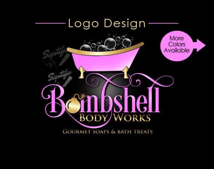 Custom label design, soap logo design, gourmet soap logo label design in any colors, pink and gold logo design, logo with bubble bathtub