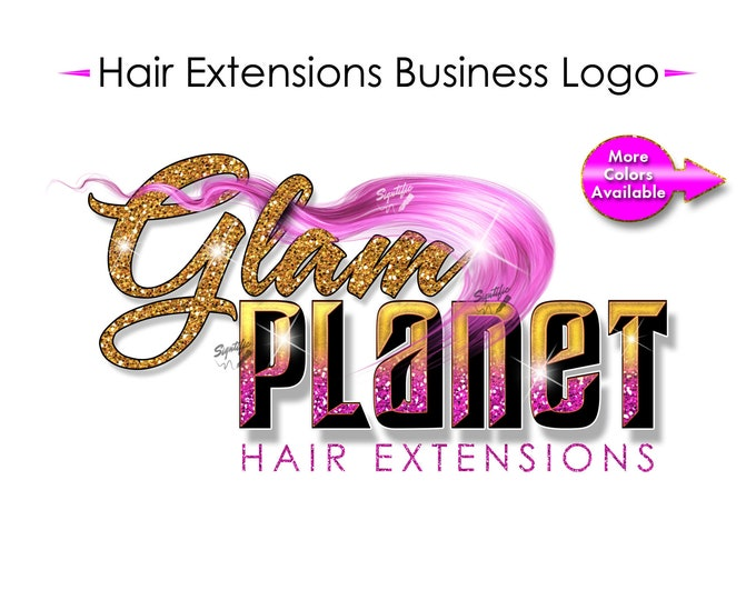 Hair Extensions Logo, 3D Logo, Glam Logo, Shimmer Logo, Hair Bundle Logo, Extension Logo, Hair Wrap Logo, Glitter Logo, Hair Business Logo