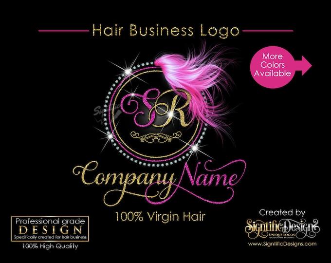 Hair Extensions Logo, Circular Diamond Bling Logo, Glitter Bling Logo, Custom Hair Logo, Hair Bundle Logo, Hair Packaging Logo, Brand Logo