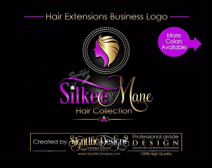 Hair Extension Logo, Hair Business Logo, Bling Logo Design, Hair Business Brand, Diamond Frame Logo, Hair Bundle Branding, Hair Tag Logo