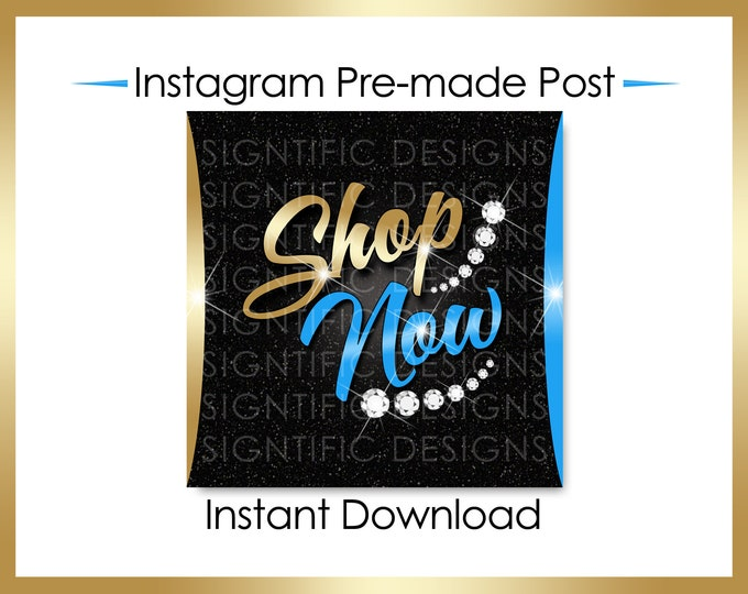 Instant Download, Shop Now, Hair Flyer, Hair Extensions Flyer, Instagram Post, Instagram Caption, Digital Online Flyer, Gold and Blue Flyer