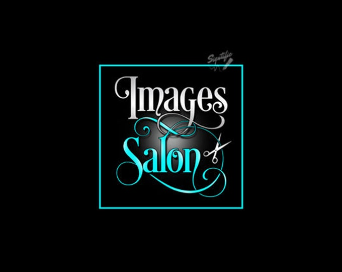 Hair Salon Logo, Custom Salon Logo Design, Silver and Teal Logo with Scissors, Beauty Salon Logo, Shears Logo, Premade Scissors Logo