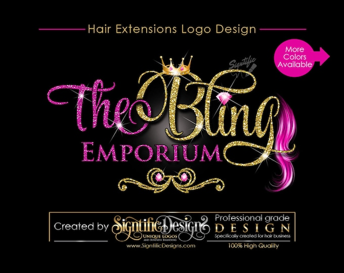 Hair Extensions Logo, Virgin Hair Logo Design, Hair Collection Logo, Glitters Logo, Bling Crown Logo, Hair Strands Logo, Hair Bundle Logo