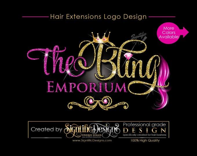 Hair Extensions Logo, Virgin Hair Logo Design, Hair Collection Logo, Glitters Logo, Bling Crown Logo, Hair Strands Logo, Hair Bundle Logo