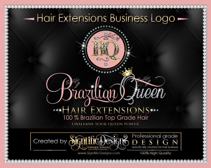 Custom Hair Extensions Logo, Diamond Bling Initials Logo, Diamond Name Logo, Bling Scissors Logo, Hair Logo, Hair Collection Logo, Name Logo